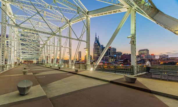 Nashville Skyline from John Seigenthaler Pedestrian Bridge at Dusk stock photo