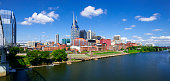 View towards the skyline of Nashville with the river Cumberland in the foreground