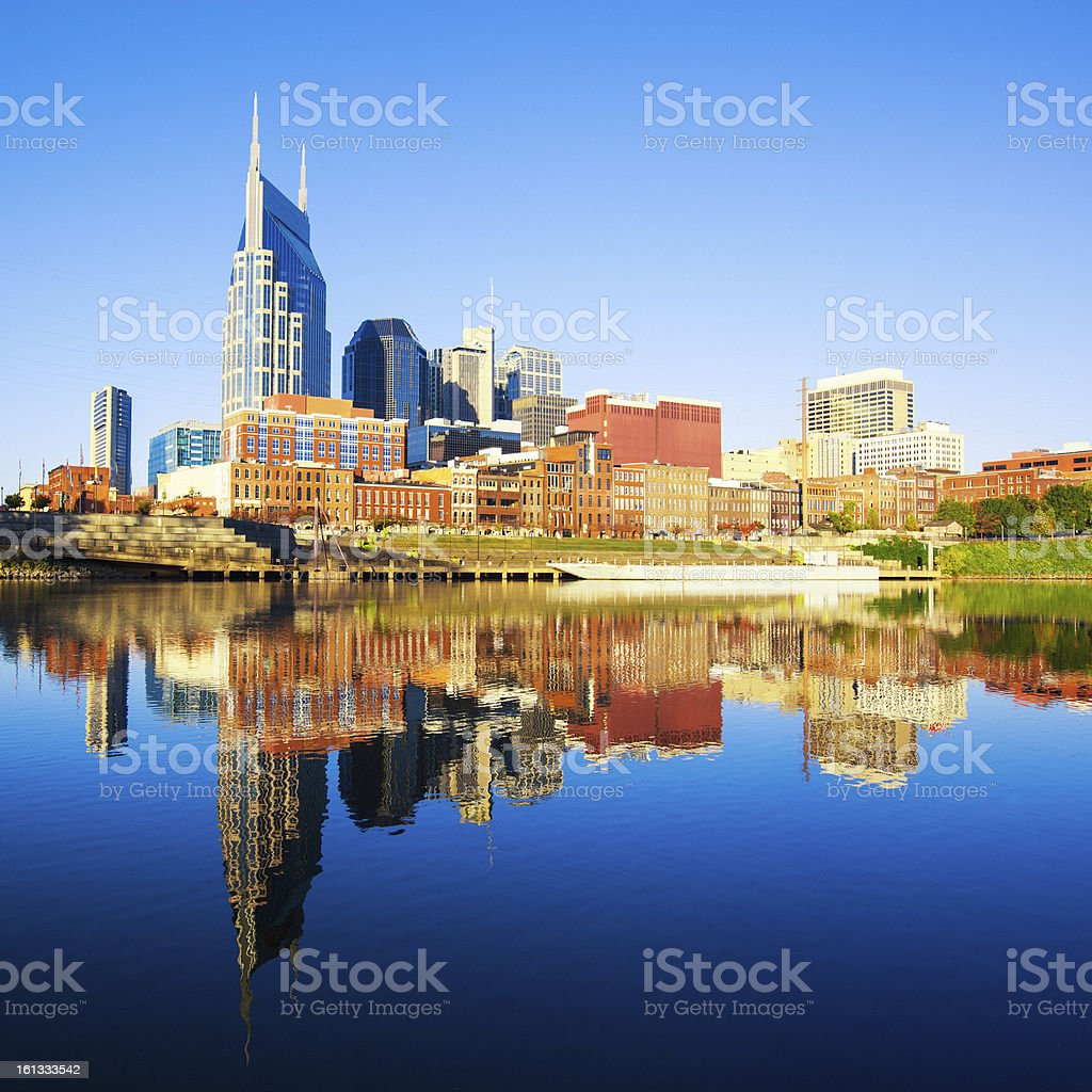 Nashville Skyline reflected in the Cumberland River stock photo
