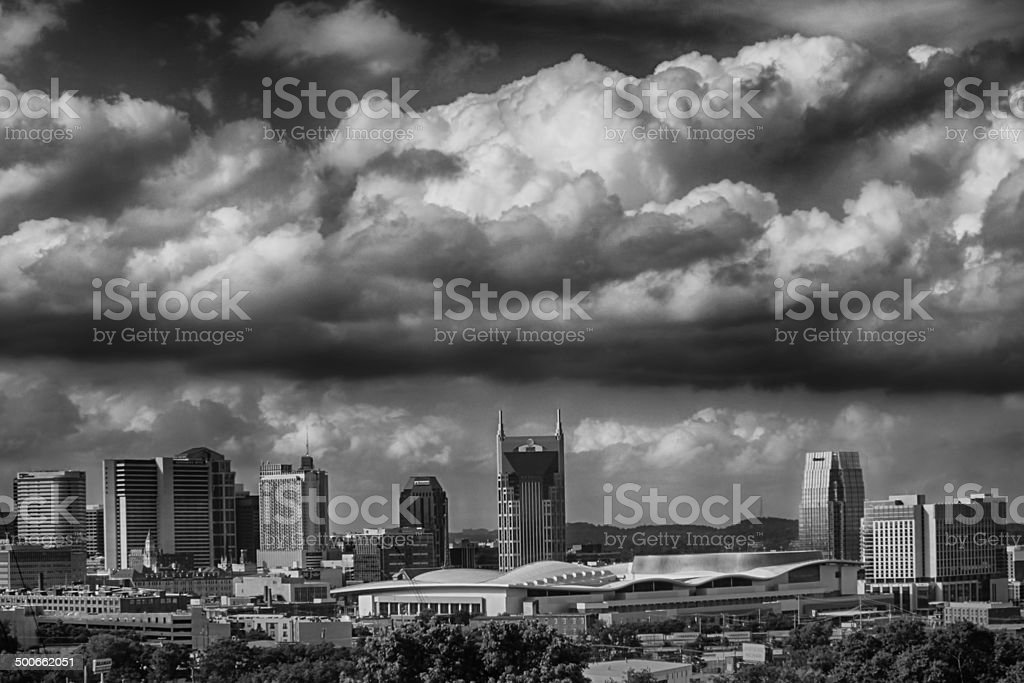 Nashville Skyline with Clouds Overhead stock photo