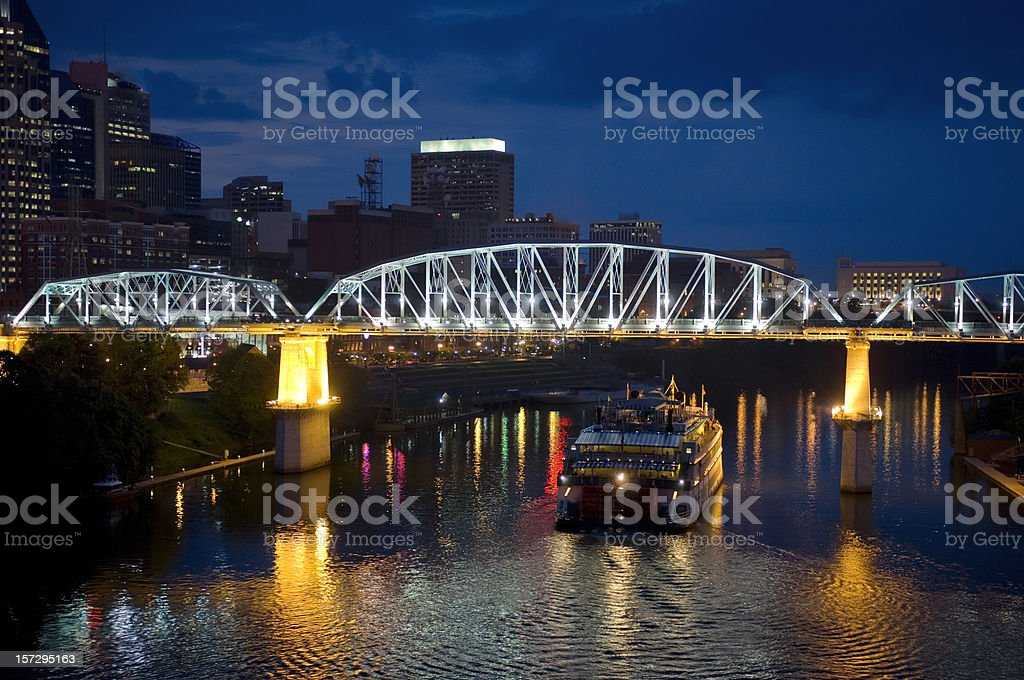 Nashville, Tennessee, Cuberland River and showboat royalty-free stock photo