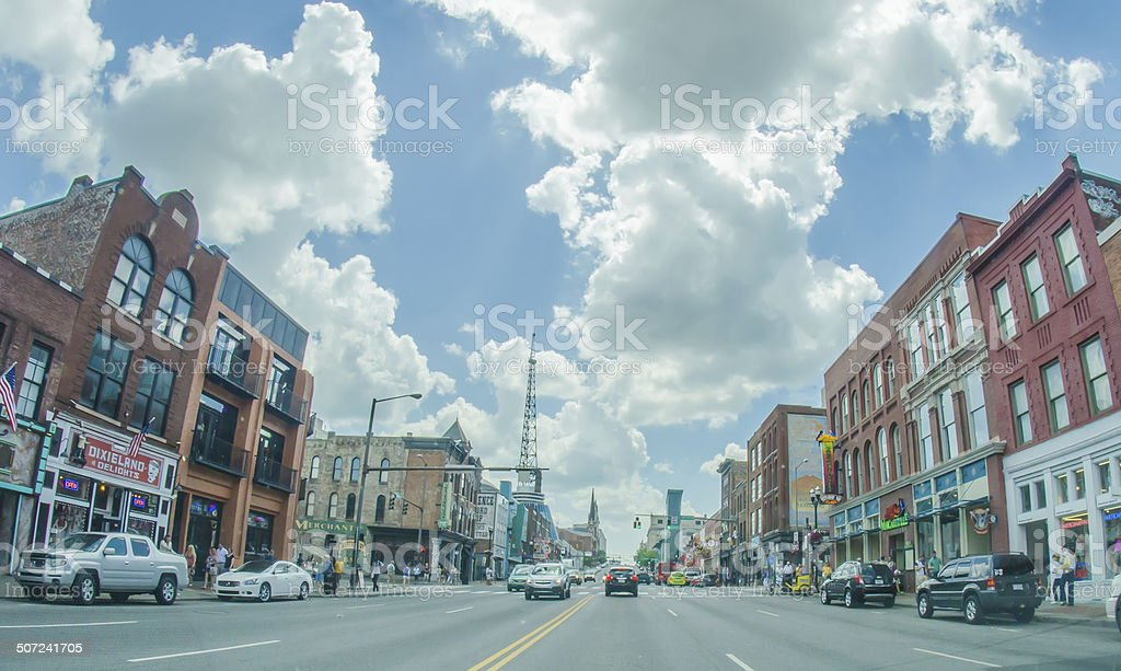 Nashville, Tennessee downtown skyline and streets stock photo