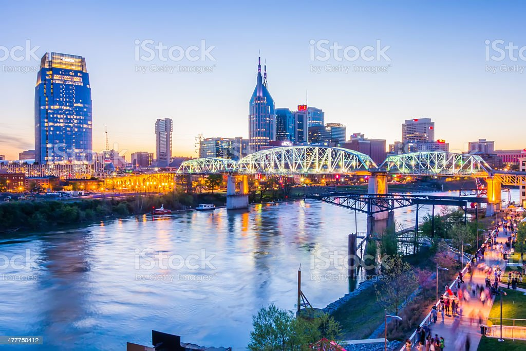 Nashville Tennessee downtown skyline at Shelby Street Bridge stock photo