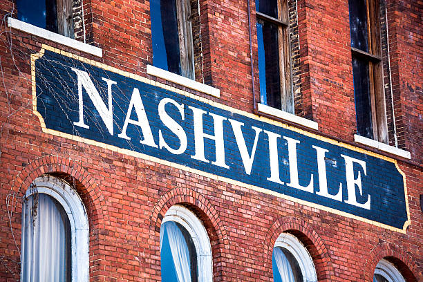 Nashville, Tennessee Nashville written on a building of the historical district.More images from Nashville in the lightbox: tennessee stock pictures, royalty-free photos & images