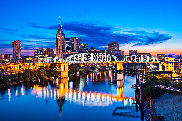 Nashville Tennessee Nashville, Tennessee downtown skyline at Shelby Street Bridge. footbridge stock pictures, royalty-free photos & images