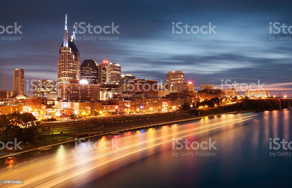 Nashville Tennessee Skyline downtown at Dusk stock photo