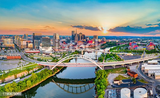 Nashville Tennessee TN Drone Skyline Aerial Panorama.