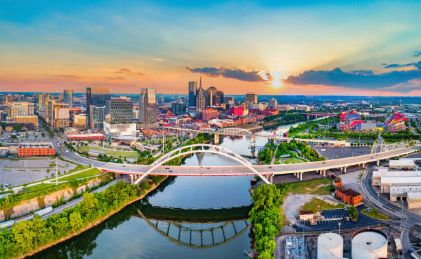 Nashville Tennessee TN Drone Skyline Aerial Panorama Nashville Tennessee TN Drone Skyline Aerial Panorama. tennessee stock pictures, royalty-free photos & images