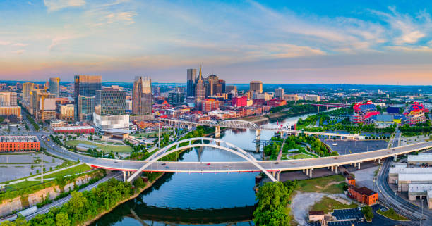 Nashville Tennessee TN Drone Skyline Aerial Nashville Tennessee TN Drone Skyline Aerial. tennessee stock pictures, royalty-free photos & images
