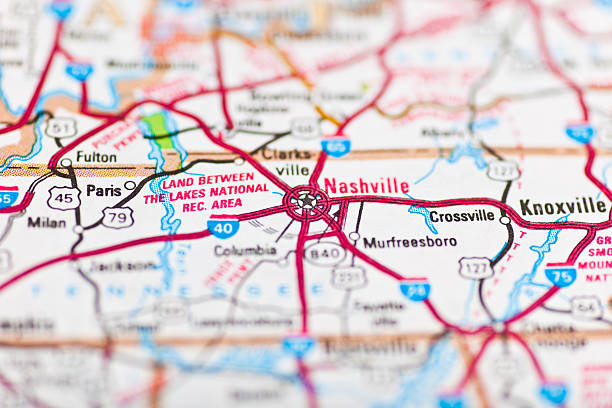 nashville, tn map - tennessee map stock photos and pictures