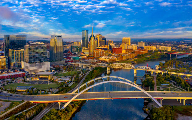 Nashville, TN Sunrise Aerial Panoramic Nashville, TN Sunrise Aerial tennessee stock pictures, royalty-free photos & images