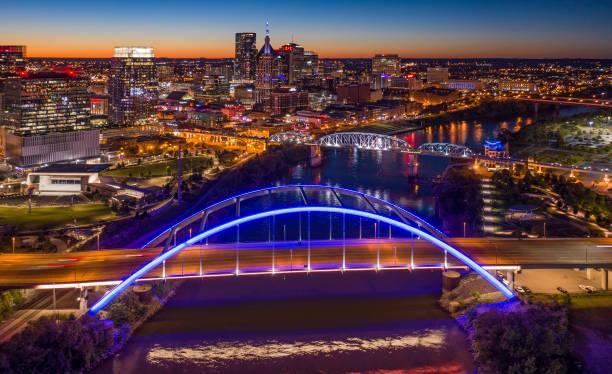 Nashville,TN Aerial Dusk stock photo