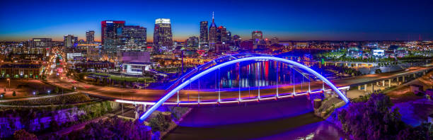 Nashville,TN Skyline Aerial Panoramic Dusk stock photo