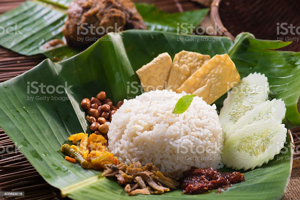 nasi lemak, a traditional malay curry paste stock photo