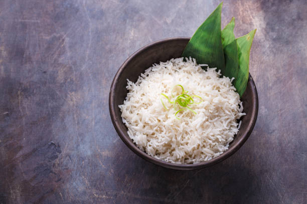 Nasi lemak or Malay fragrant rice cooked in coconut milk and pandan leaf, copy space stock photo