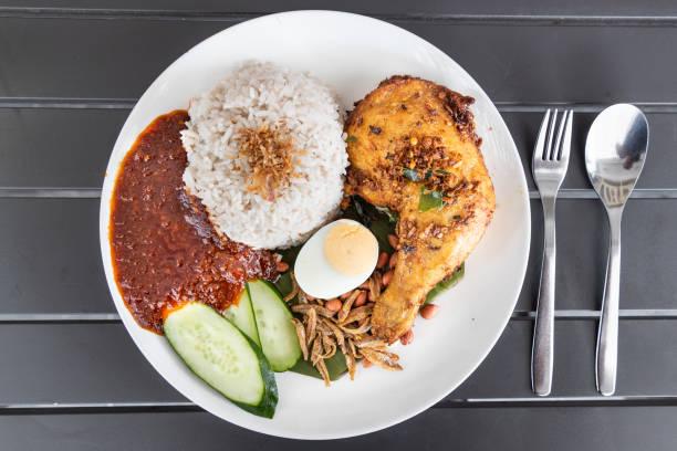 Nasi lemak mit gebratenem Huhn und Sambal, Malaysia beliebtes Essen – Foto
