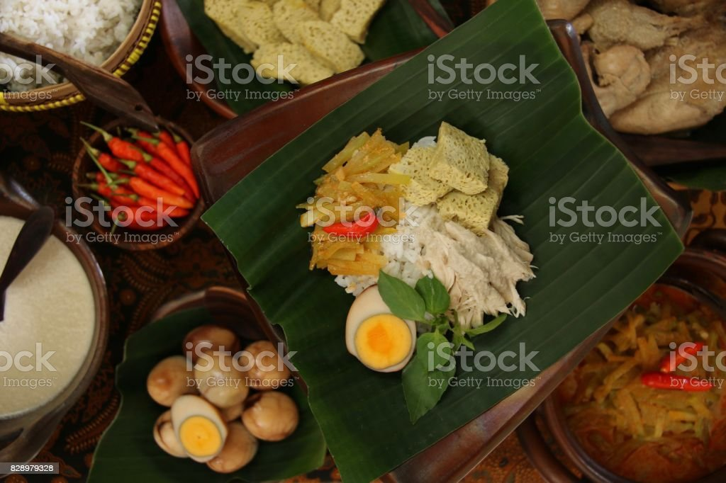 Nasi Liwet Solo, the Traditional Savory Rice Dish from Solo / Surakarta, Served in Luxurious  Traditional Style stock photo