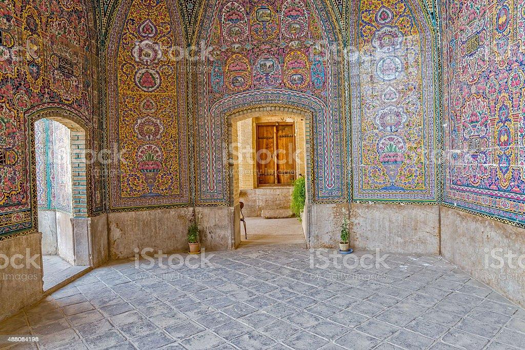 Nasir al-Mulk Mosque colorful passage stock photo