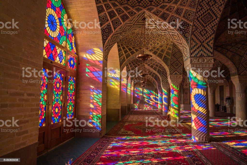 Nasir Al-Mulk Mosque (Pink Mosque) in Shiraz, Iran stock photo