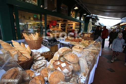 Vienna/ Austria - 2 February 2019:bakery sell the bread in nasschmarkt. nasschmarkt flea market open on saturday and the biggest flea market in vienna.