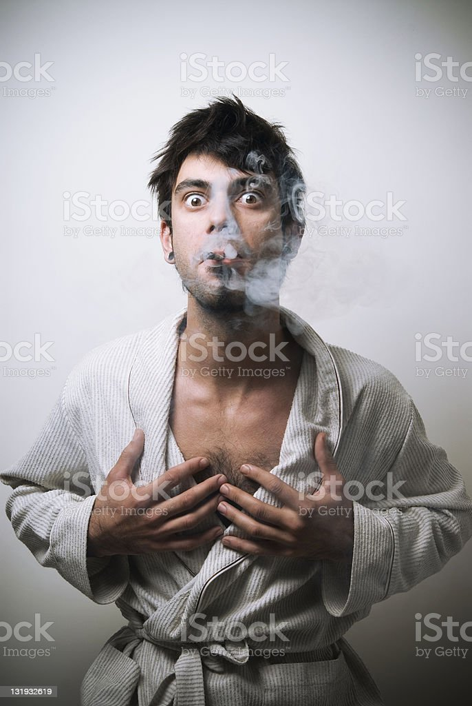 Nasty smoker's morning royalty-free stock photo