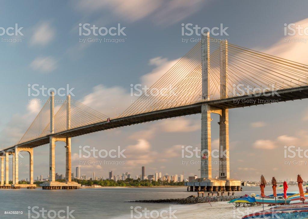 Natal Newton Navarro Bridge sunset over Potengi River skyline stock photo