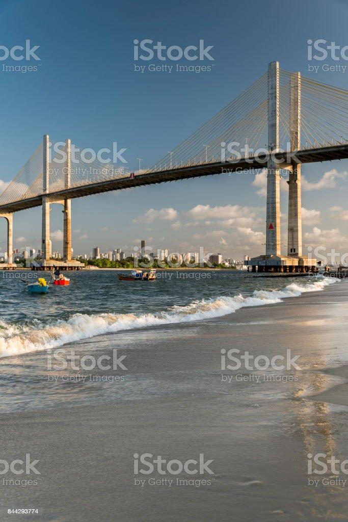 Natal Newton Navarro Bridge sunset over Potengi River vertical stock photo