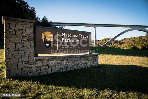 National Park sign in front of the beautiful Natchez Trace Parkway Bridge near Franklin, Tennessee.