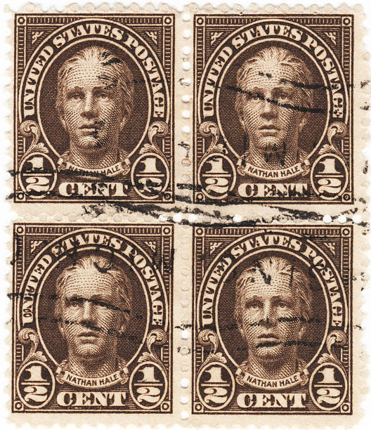 Nathan Hale 1929 Half Cent Stamp Brown Tone Stock Photo More Pictures Of