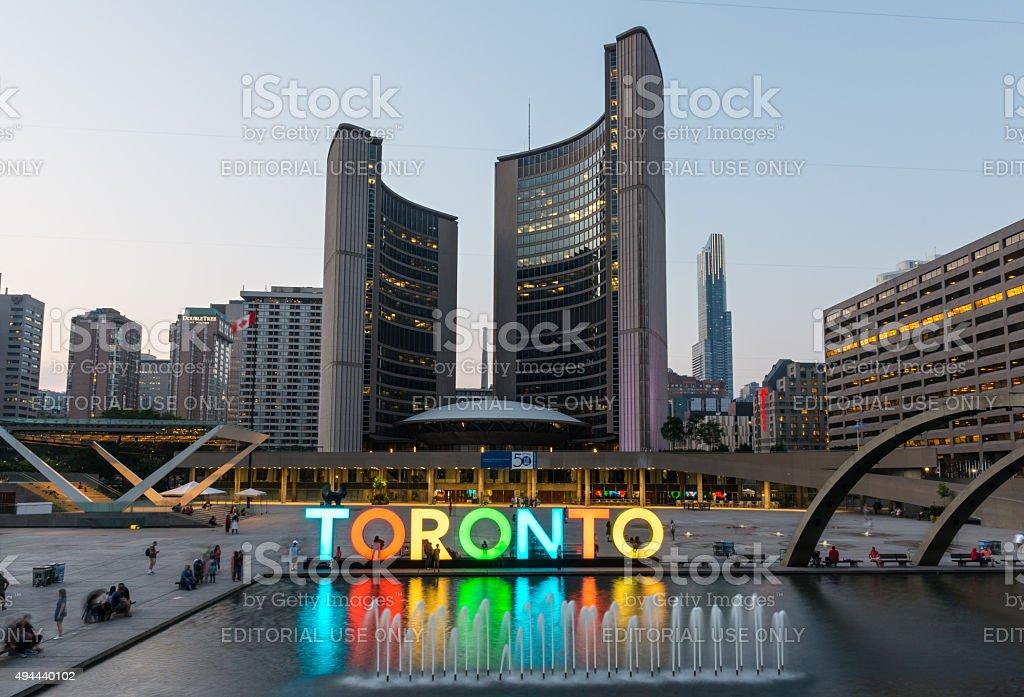 Nathan Phillips Square and City Hall on Toronto stock photo