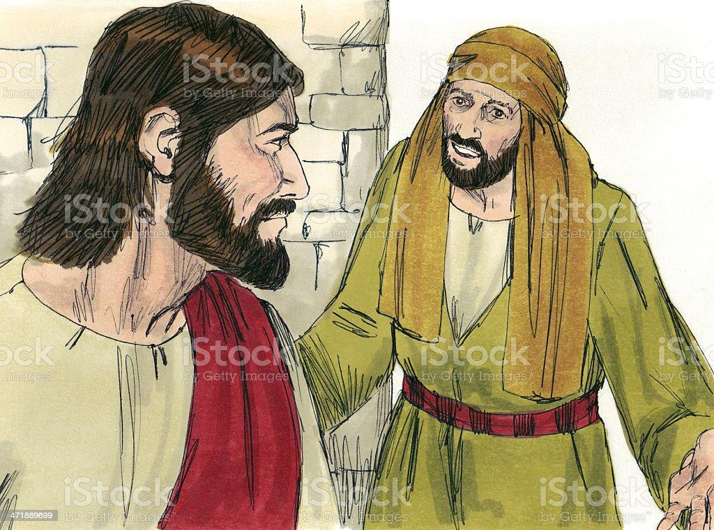 Nathanael Follows Jesus stock photo