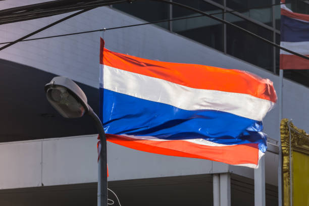 THAILAND Nation Flag blown by the wind in Sunny day Evening Flag Nation Concept. stock photo
