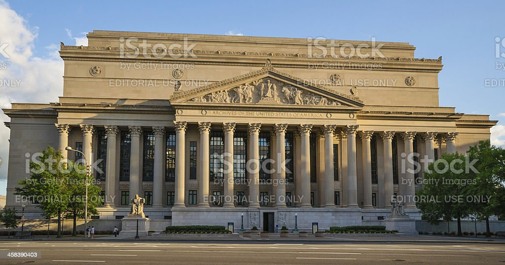 National Archives Building in Washington, D.C. USA royalty-free stock photo