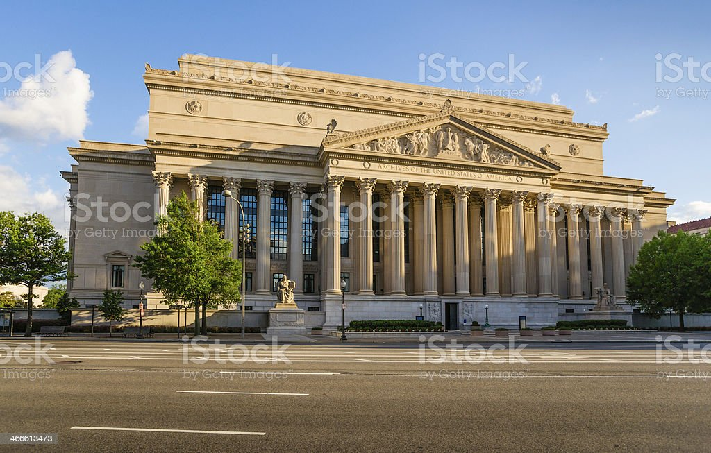 National Archives Building in Washington, D.C. USA stock photo