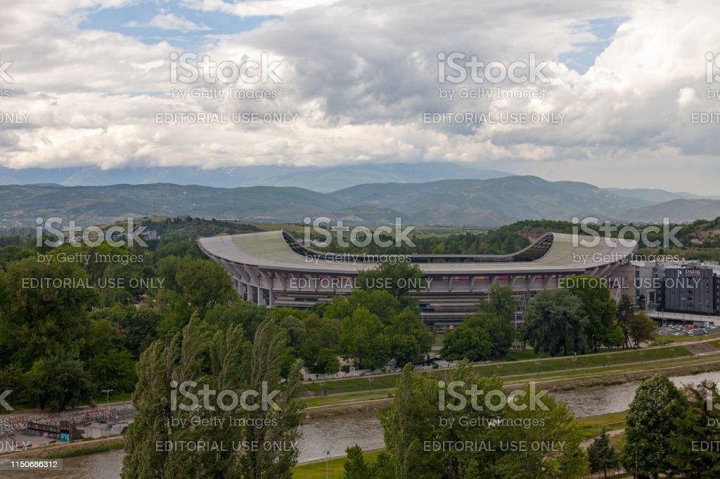 National Arena Toshe Proeski in Skopje stock photo