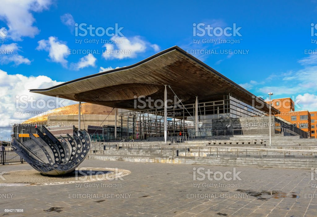 Cardiff Bay, Wales - May 20, 2017: National Assembly building stock photo