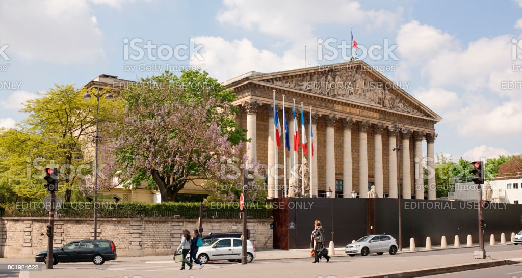 National Assembly in the Bourbon Palace (under renovation). stock photo