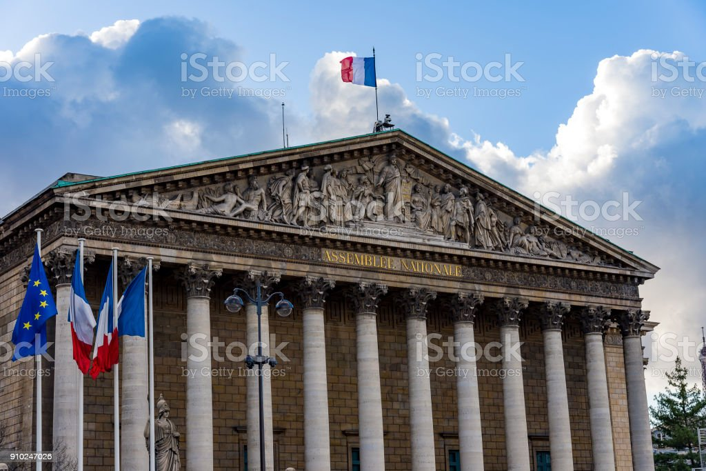 National assembly in the city of Paris, France. Assemblee Nationale stock photo