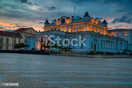 National Assembly of Bulgaria - Parliament in Sofia in a beautiful summer night, Bulgaria