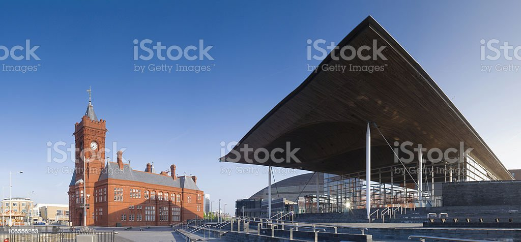 National Assembly & Pier head building - Cardiff stock photo