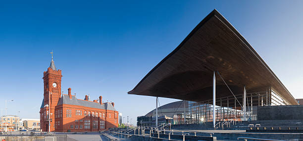 National Assembly & Pier head building - Cardiff  welsh culture stock pictures, royalty-free photos & images