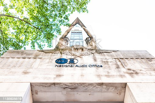512860403 istock photo National Audit Office building exterior architecture with sign in United Kingdom, Pimlico neighborhood district 1135605519
