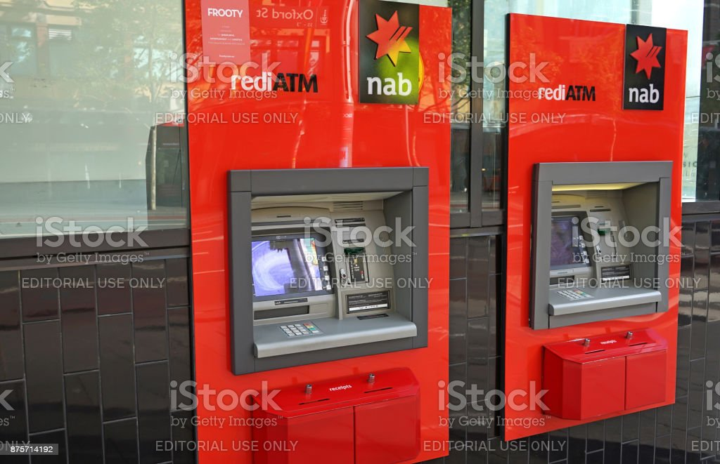 National Australia Bank, one of the 'Big Four', has branches and ATM's across the globe, including this one in Oxford street. stock photo