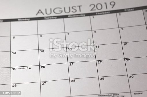 istock US National Aviation Day Concept. 19 August 2019 calendar 1135391115