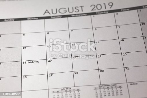 istock US National Aviation Day Concept. 19 August 2019 calendar 1138248587