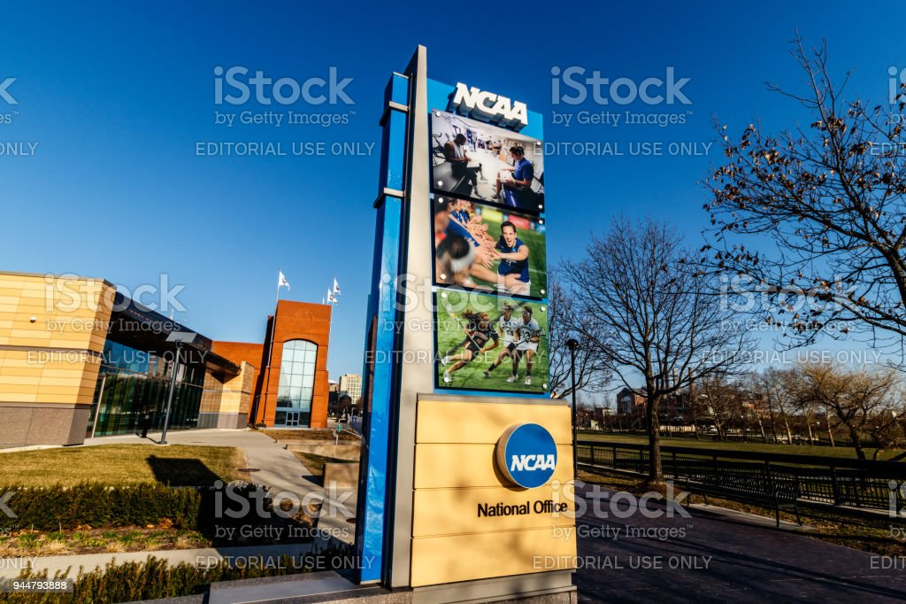 National Collegiate Athletic Association Headquarters. The NCAA regulates athletic programs of many colleges and universities II stock photo
