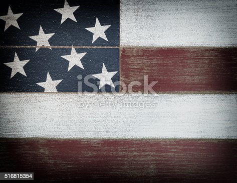 istock USA national colors painted on faded wooden boards with vignette 516815354