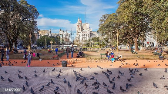 Buenos Aires, Argentina-20 May, 2019: National Congress plaza of Buenos Aires