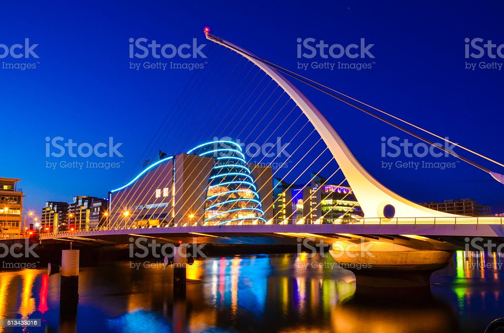 National Convention Centre and Samuel Beckett Bridge stock photo