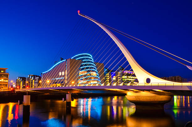 national convention centre and samuel beckett bridge - republic of ireland stock pictures, royalty-free photos & images